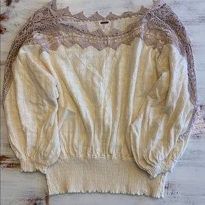 NWT Free People Love Lace Knit Sweater Size Med
